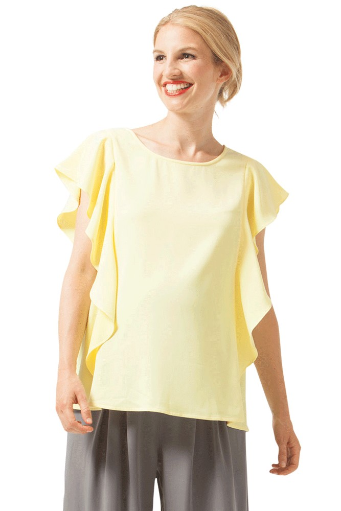 Yasmine Ruffle Maternity & Nursing Top (Yellow)