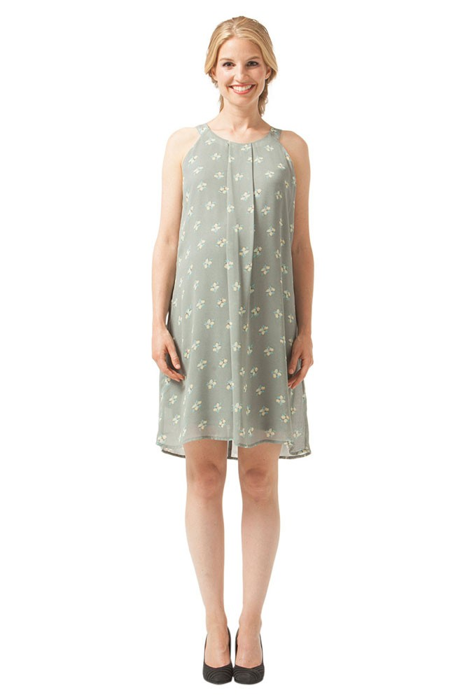 Yvonne Halter Woven Maternity & Nursing Dress (Grey Floral)