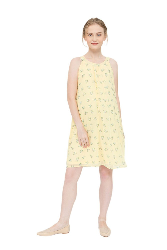 Yvonne Halter Woven Maternity & Nursing Dress (Yellow Floral)