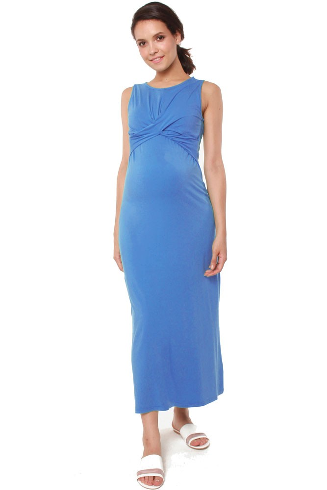 Chiyo Bamboo Maternity & Nursing Maxi Dress (Ocean)