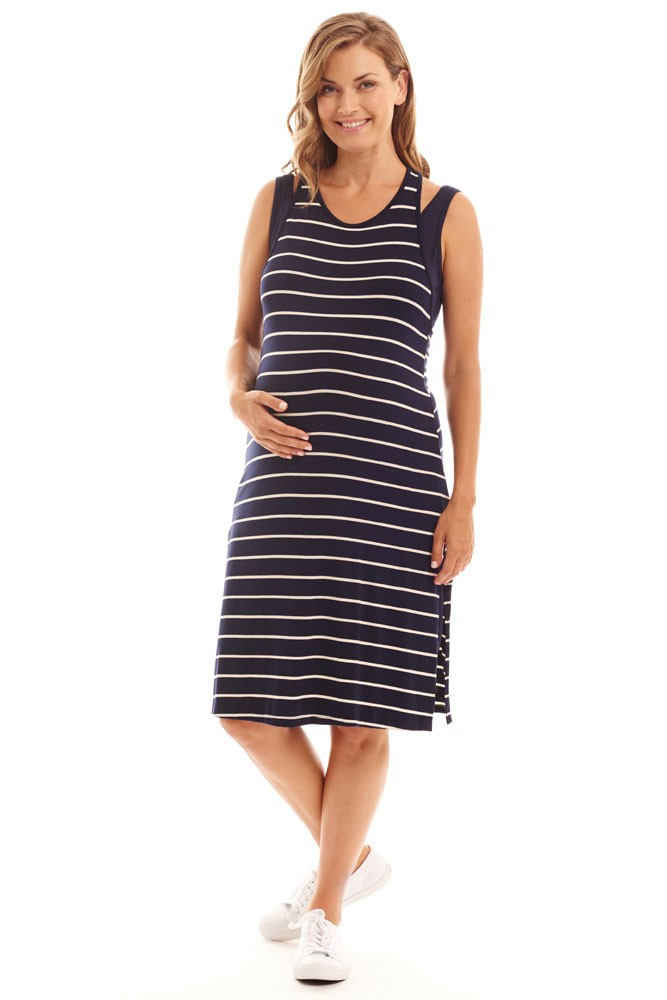 Alex 2-piece Maternity & Nursing Dress (Navy Stripe)