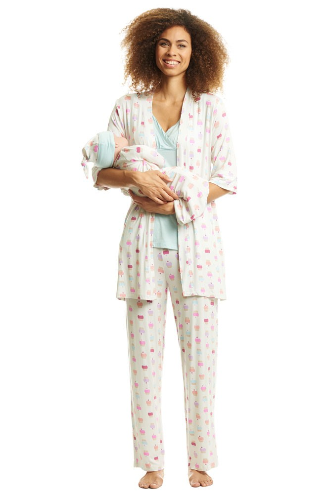Analise 5-Piece Mom and Baby Maternity and Nursing PJ Set (Cupcakes)