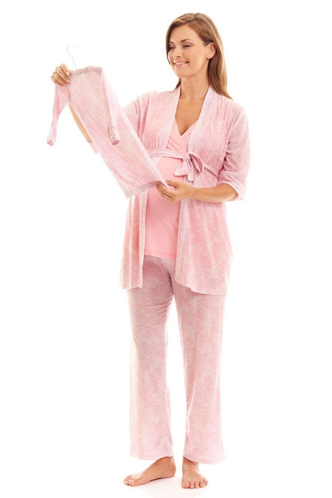 Analise 5-Piece Mom and Baby Maternity and Nursing PJ Set (Pink Chantilly)