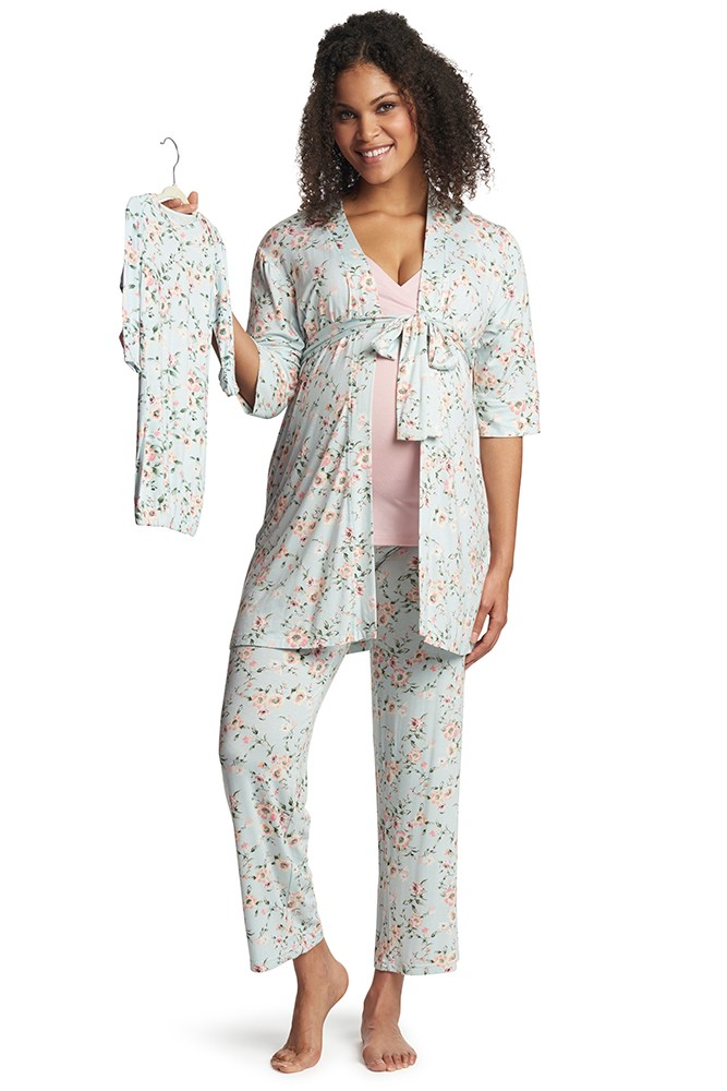 Analise 5-Piece Mom and Baby Maternity and Nursing PJ Set (Cloud Blue)