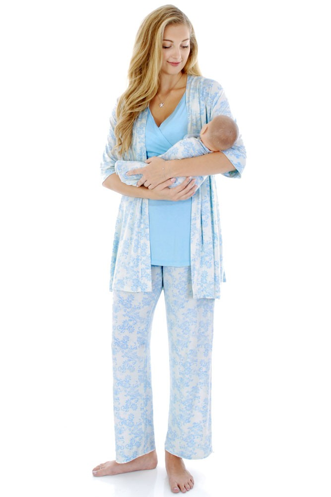 Analise 5-Piece Mom and Baby Maternity and Nursing PJ Set (Blue Chantilly)