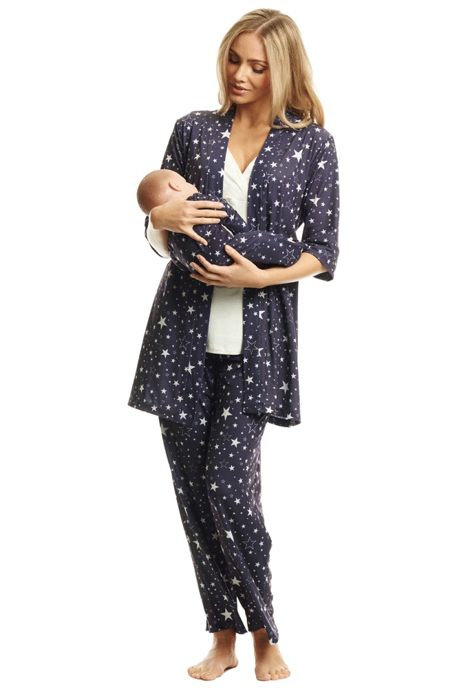 Analise 5-Piece Mom and Baby Maternity and Nursing PJ Set (Stars)