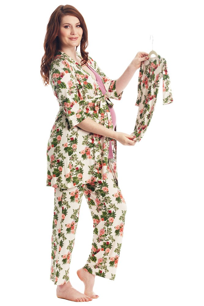 Analise 5-Piece Mom and Baby Maternity and Nursing PJ Set (Beige Floral)