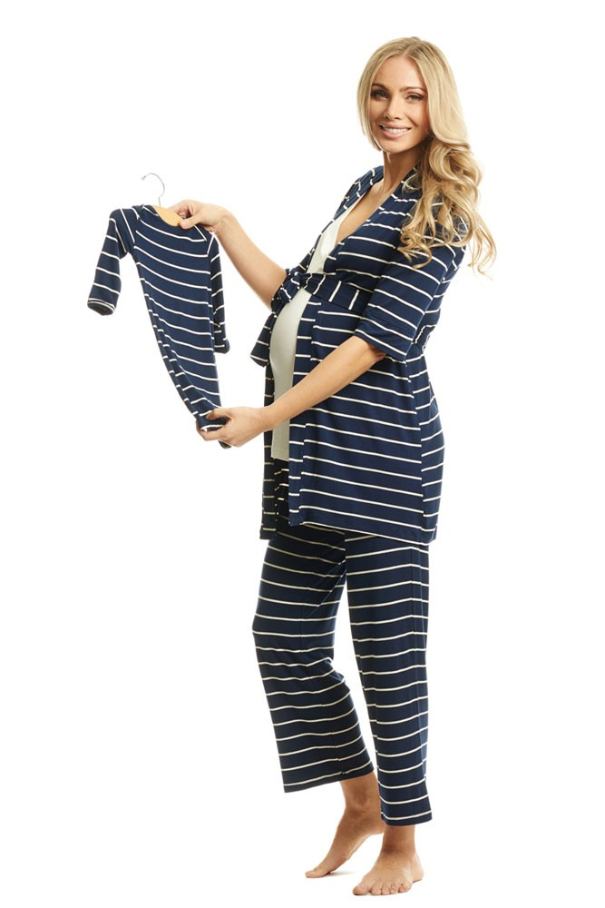 Analise 5-Piece Mom and Baby Maternity and Nursing PJ Set (Navy Stripe)