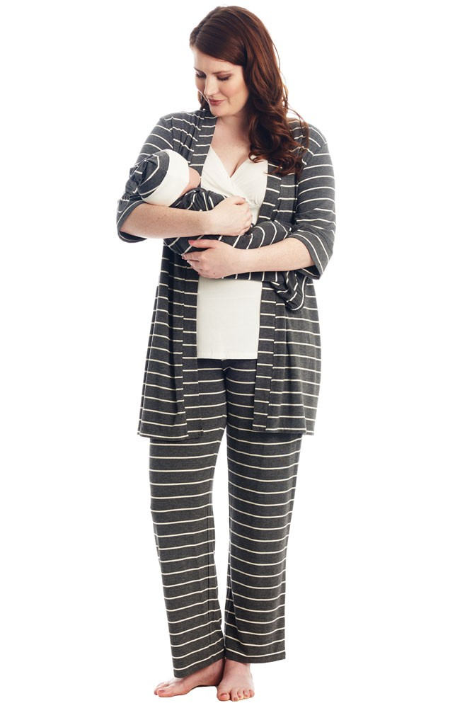 Analise 5-Piece Mom and Baby Maternity and Nursing PJ Set (Charcoal Stripes)
