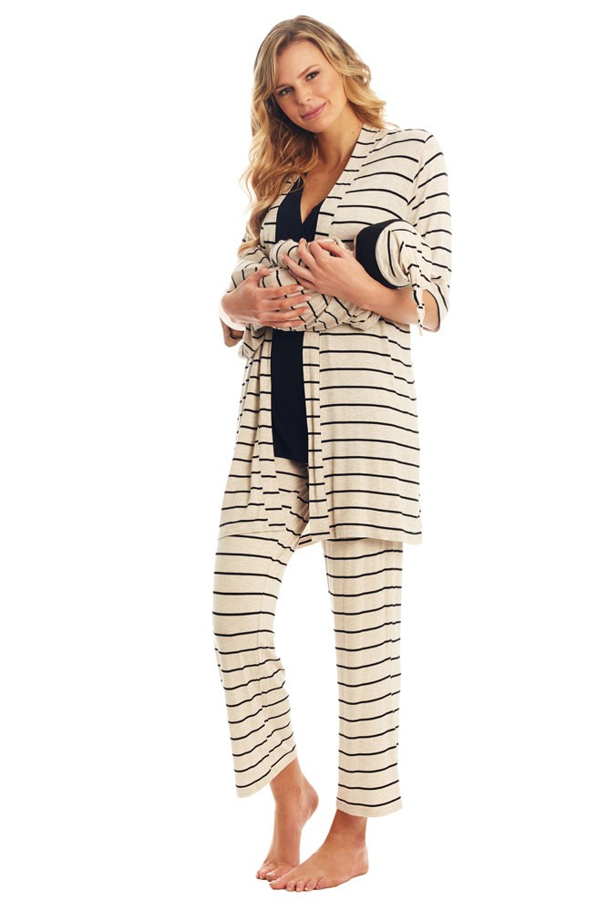 Analise 5-Piece Mom and Baby Maternity and Nursing PJ Set (Sand Stripe)