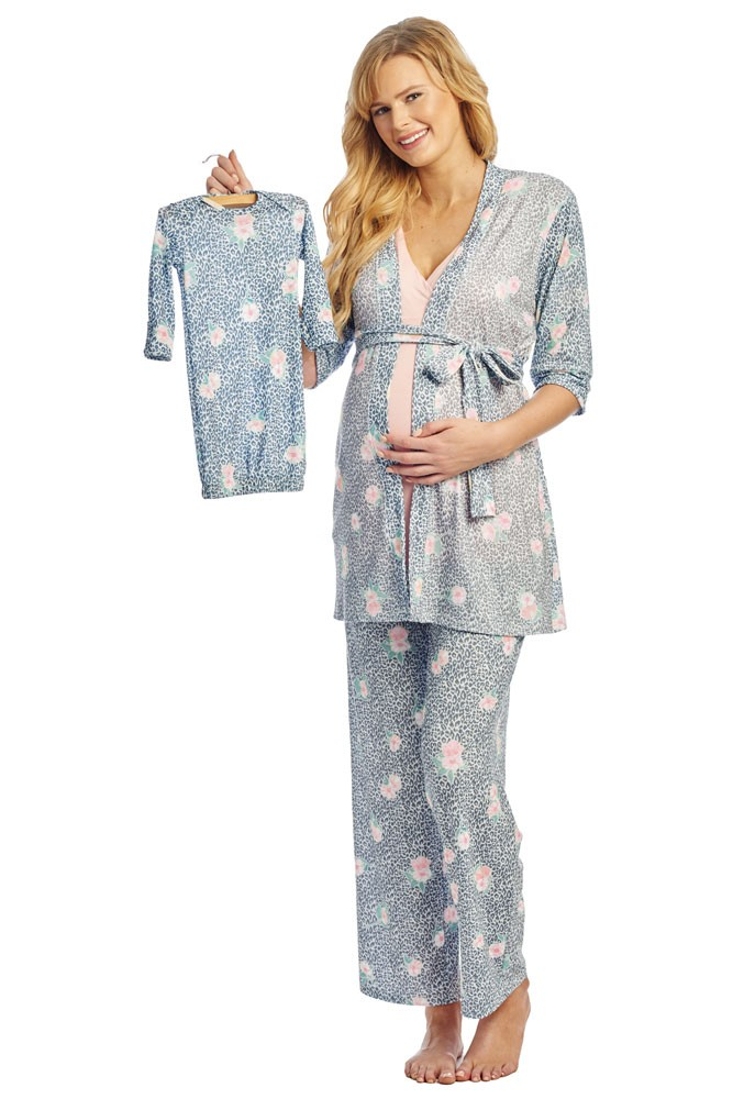 Analise 5-Piece Mom and Baby Maternity and Nursing PJ Set (Jungle Floral)