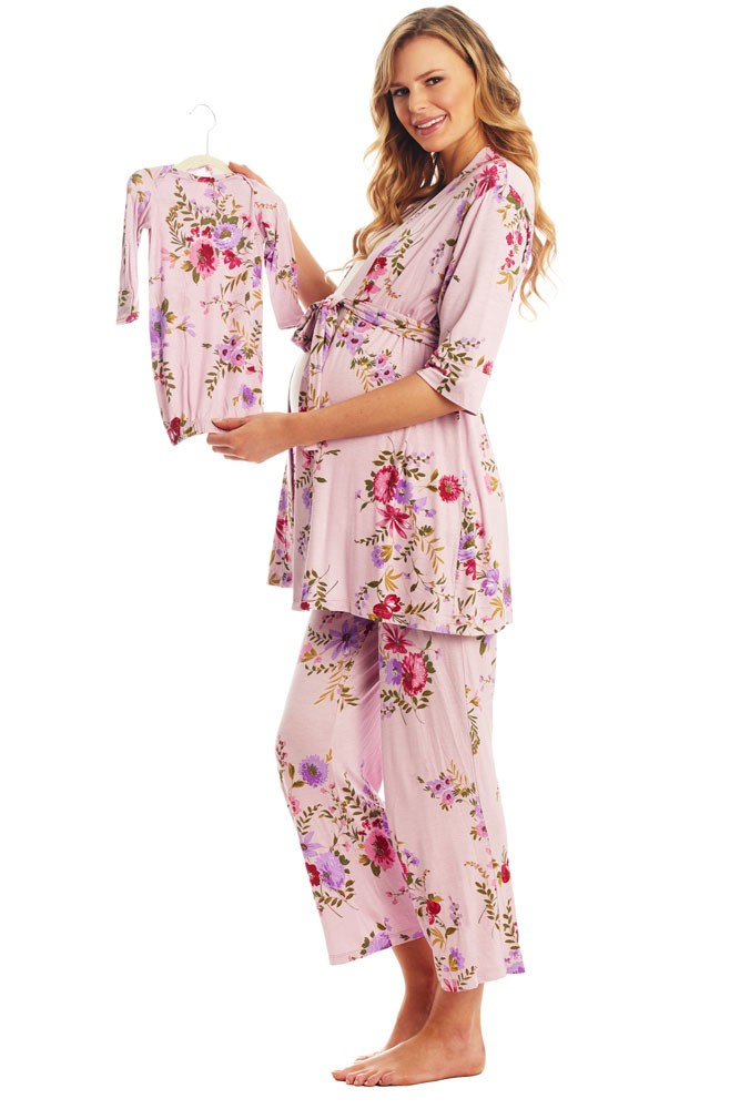 Analise 5-Piece Mom and Baby Maternity and Nursing PJ Set (Dusty Rose)