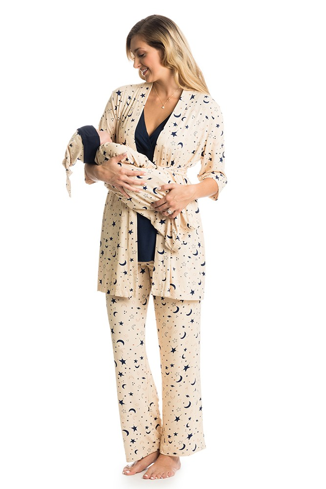 Analise 5-Piece Mom and Baby Maternity and Nursing PJ Set (Twinkle)