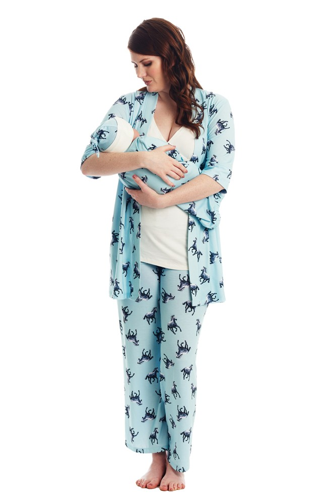 Analise 5-Piece Mom and Baby Maternity and Nursing PJ Set (Horse)