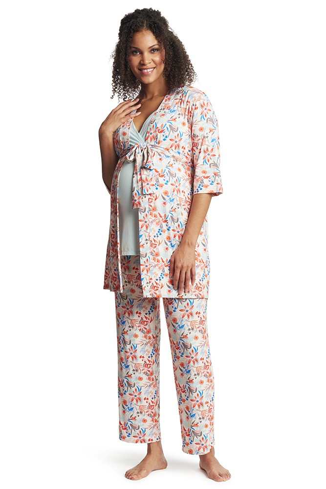 Analise 5-Piece Mom and Baby Maternity and Nursing PJ Set (Posy)