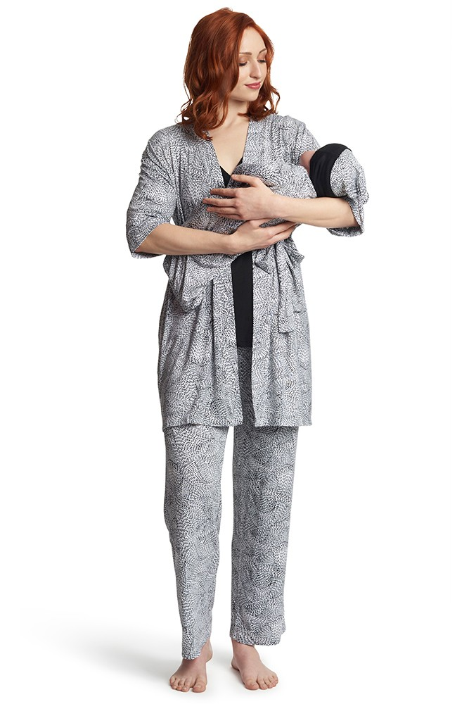 Analise 5-Piece Mom and Baby Maternity and Nursing PJ Set (Twilight)