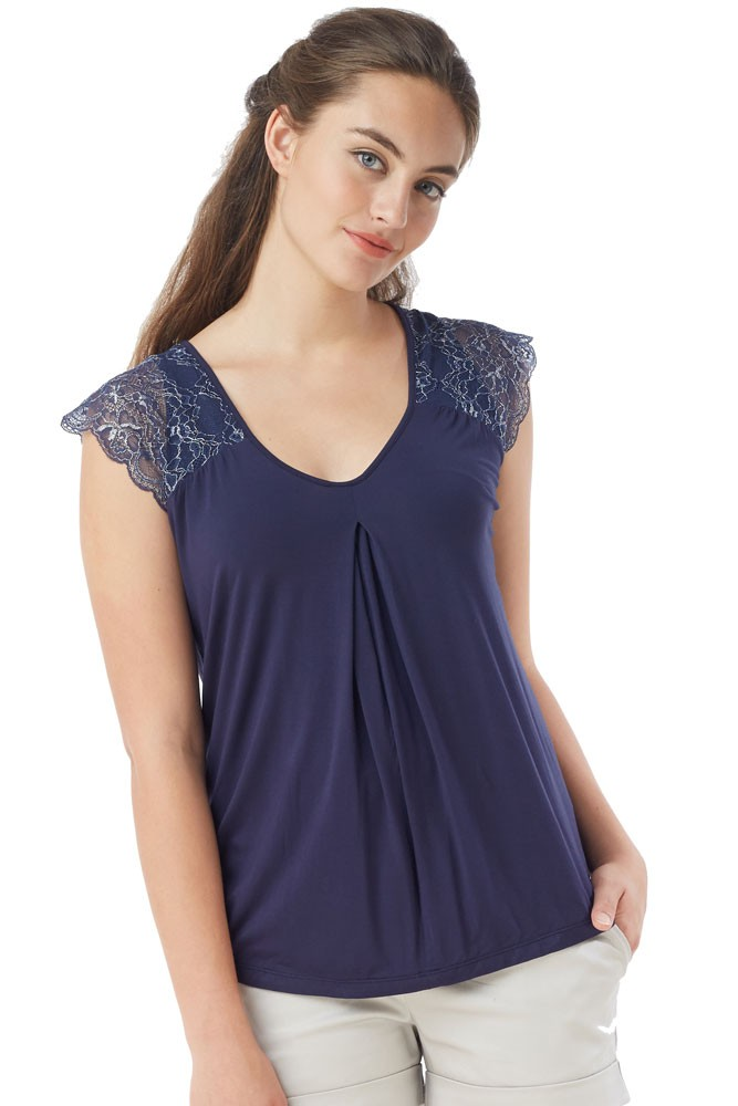 Odette Delicate Lace Shoulder Nursing Top (Nightshadow Blue)