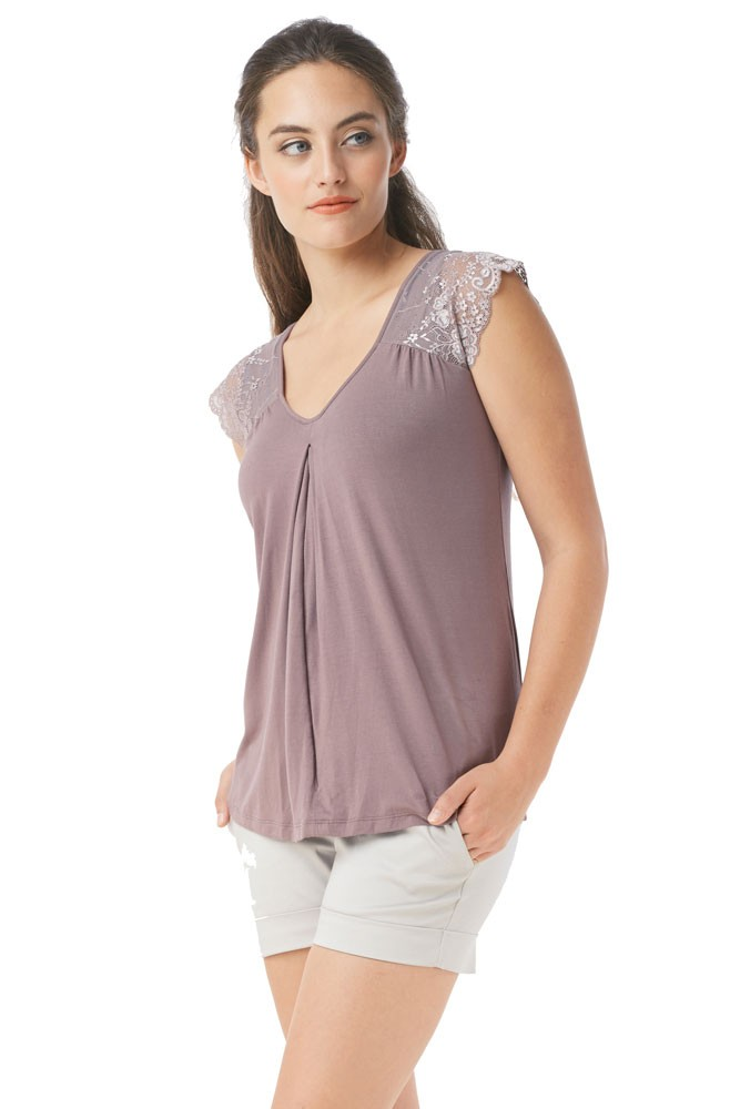 Odette Delicate Lace Shoulder Nursing Top (Zinc)