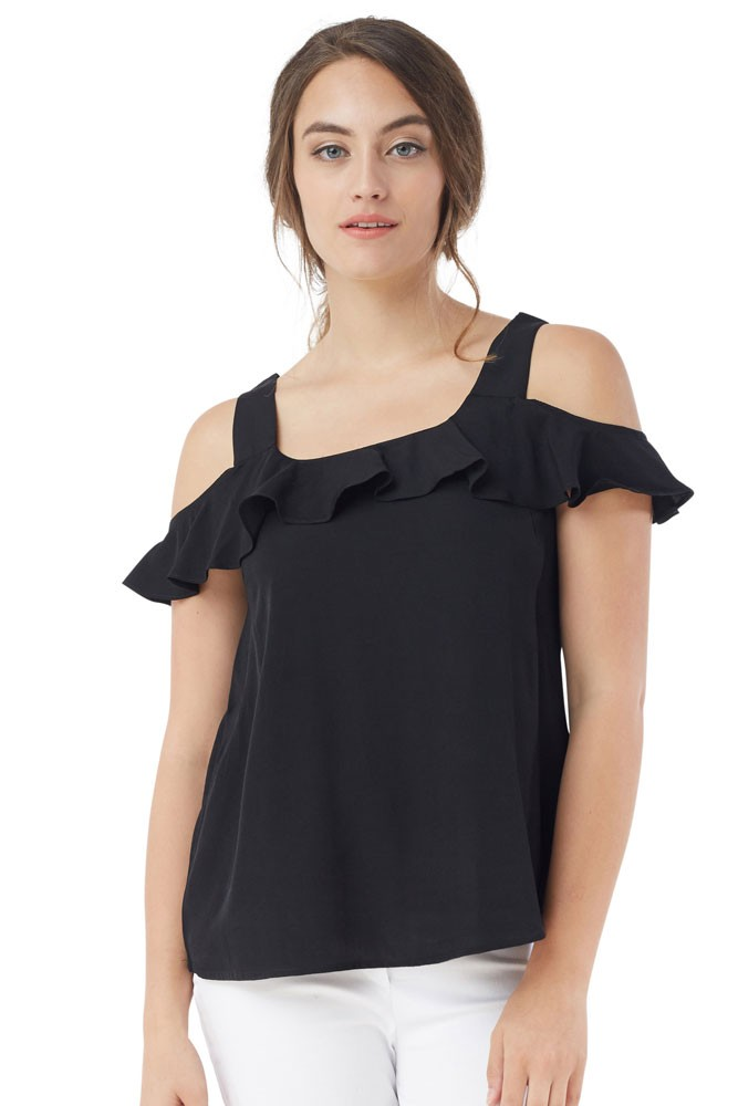 Nikki Cold-Shoulder Nursing Blouse (Black)