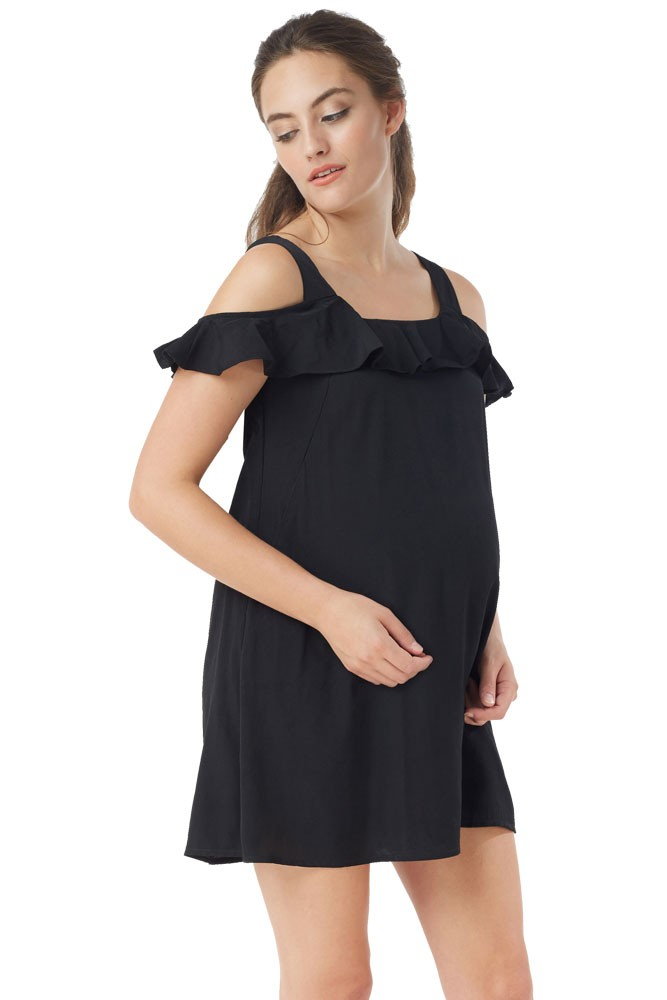 Nikki Cold-Shoulder Nursing Dress (Black)