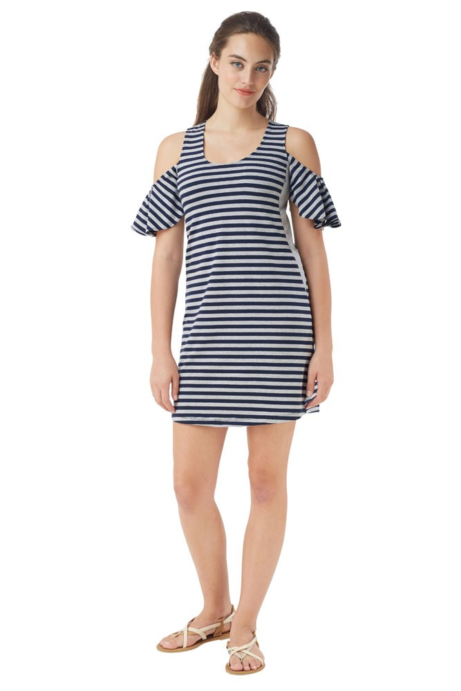 Joop Stripes Cold-Shoulder Nursing Dress (Stripe Navy- Grey)