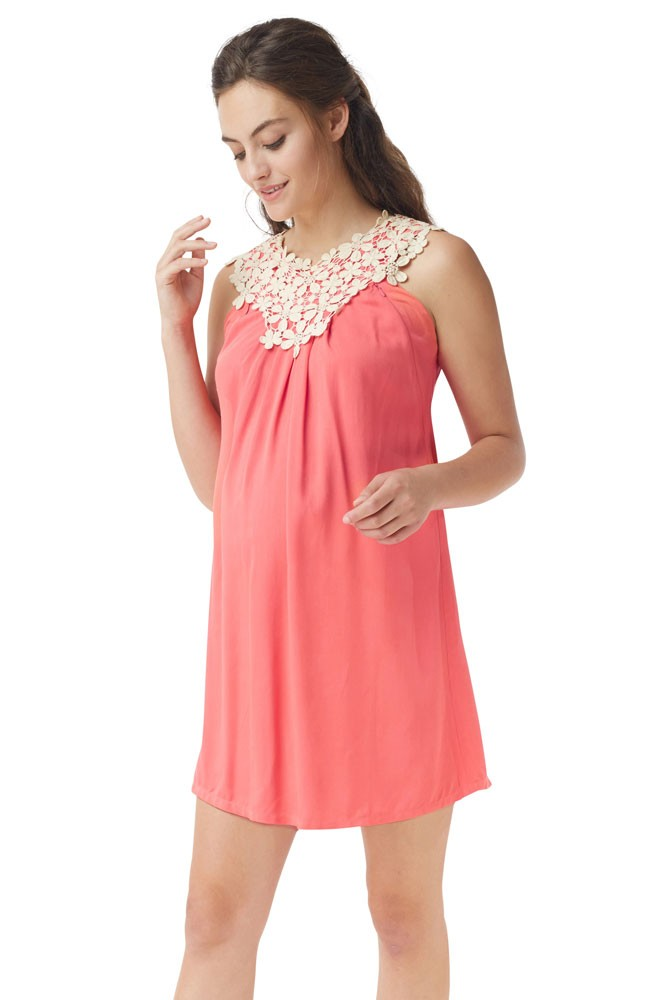 Bloom Lace Applique Maternity & Nursing Dress (Geogia Peach)