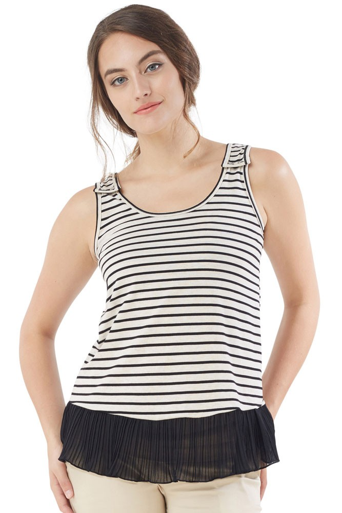 Accordion Stripe Nursing Tank (Stripe Black-White)