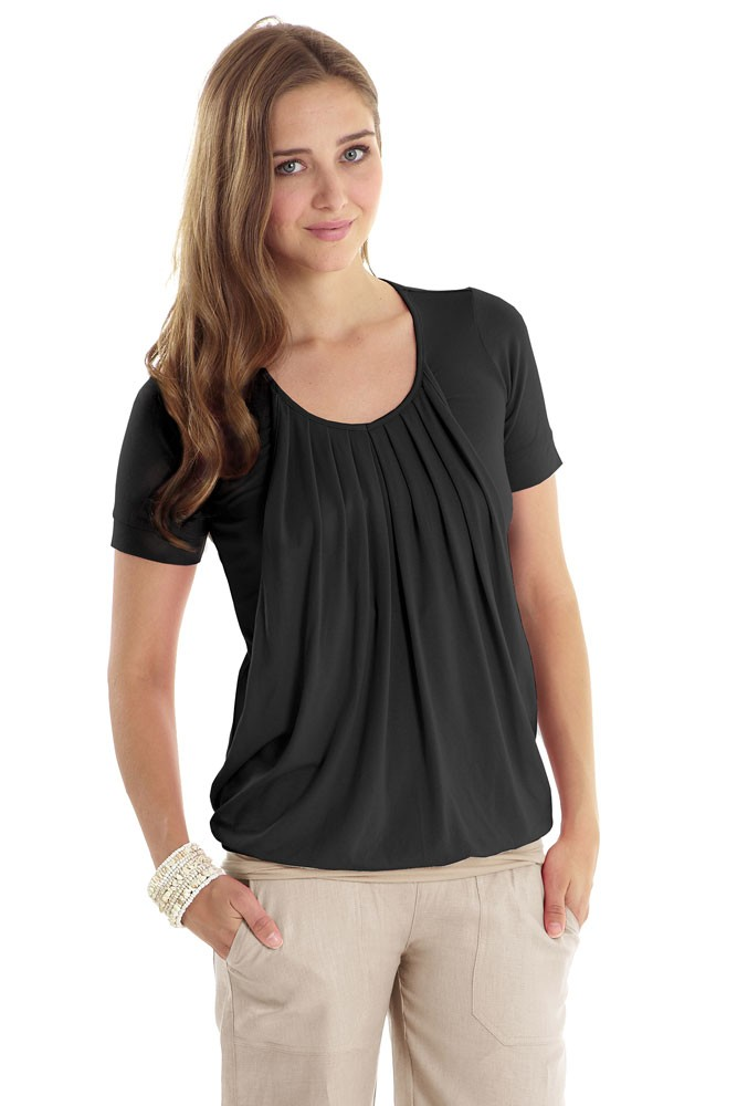 Slouchy Pleated Short Sleeve Nursing Tee (Black)