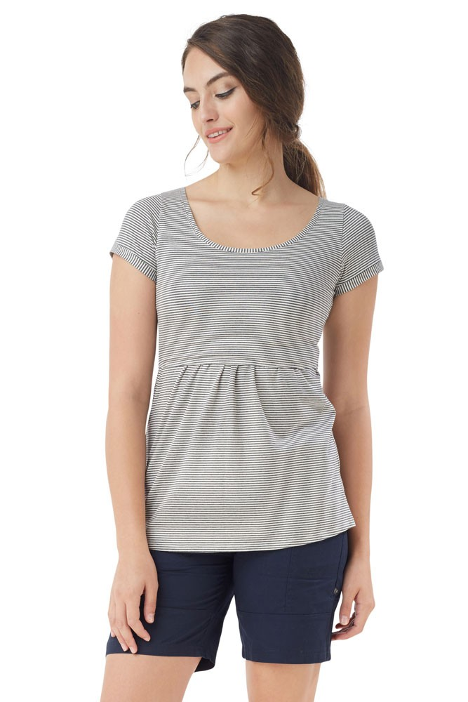 Avery Must-Have U-Neck Organic Short Sleeve Tee (Stripes White Grey)