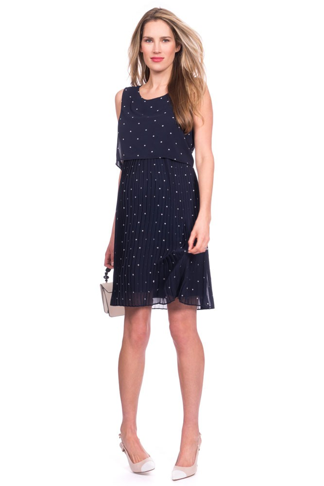 Seraphine Kimmy Two-Layer Pleated Woven Maternity & Nursing Dress (Navy Spot)