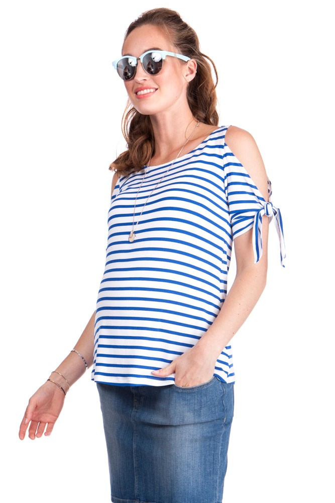 Seraphine Megan Bow Sleeve Maternity & Nursing Top (Nautical)