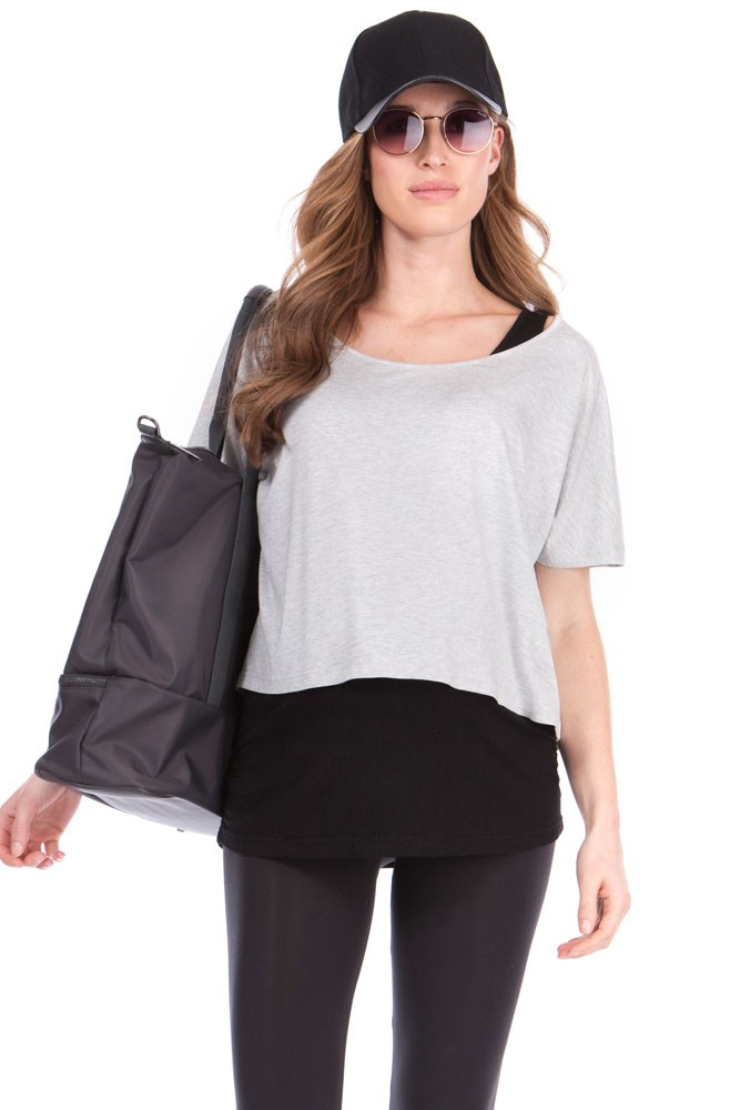 Seraphine Sonya Two-Layer Maternity & Nursing Top (Grey Marl/ Black)