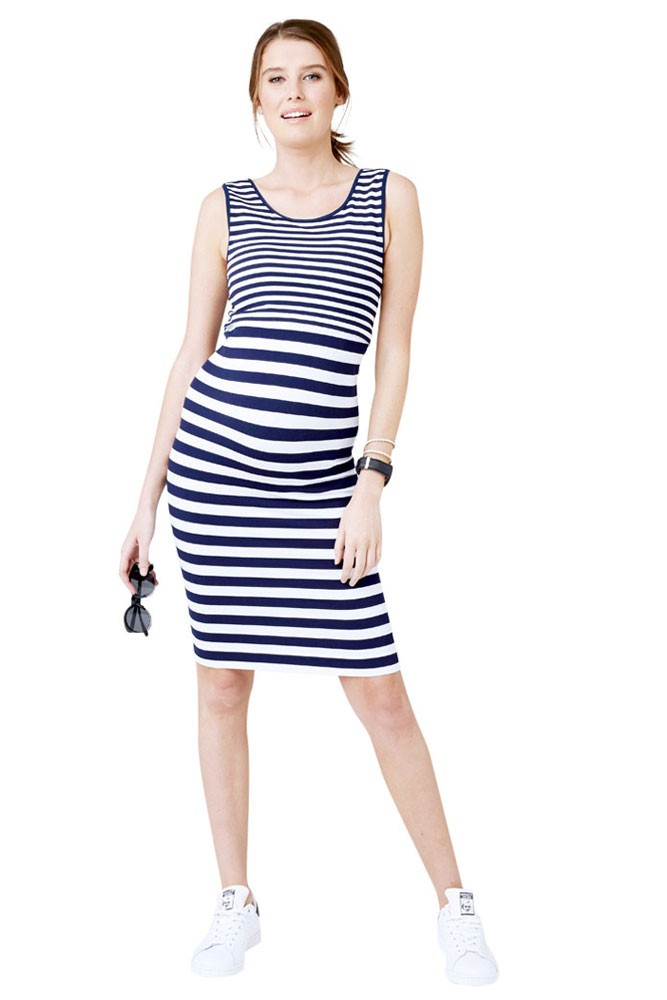 Norah Seamless Striped Maternity & Nursing Dress (Navy & White Stripes)