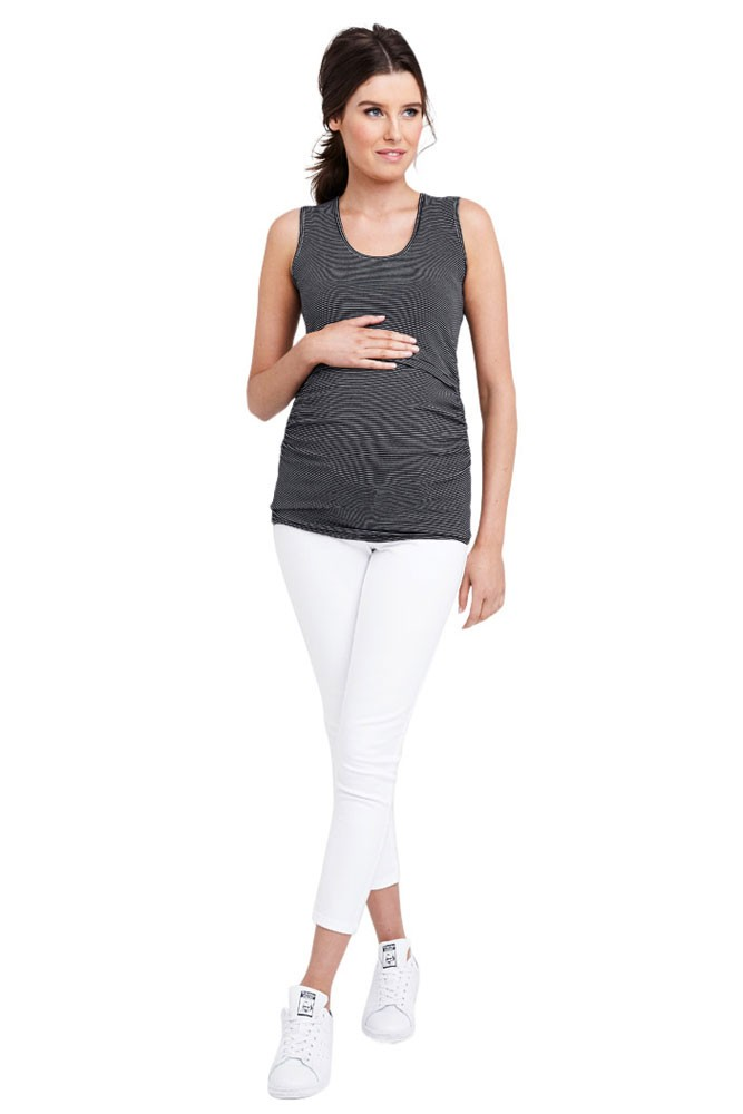Jill Mini Stripe Maternity & Nursing Tube Tank (Black & White Stripes)