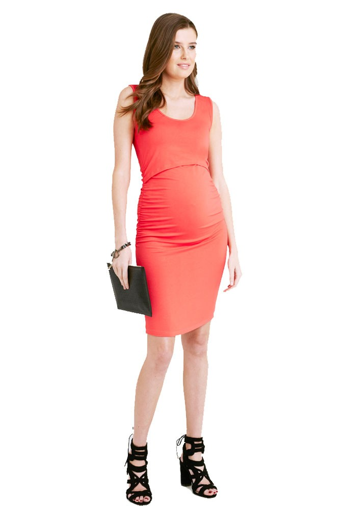 Jackie Maternity & Nursing Fitted Tube Dress (Carmine Red)