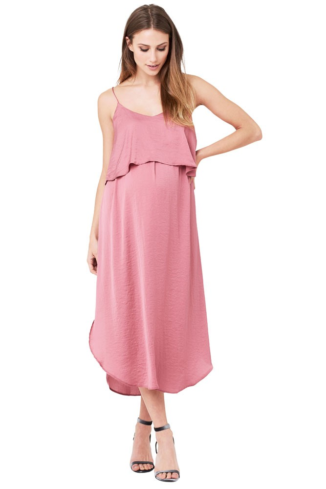 Maya Maternity & Nursing Woven Slip Midi Dress (Rose)