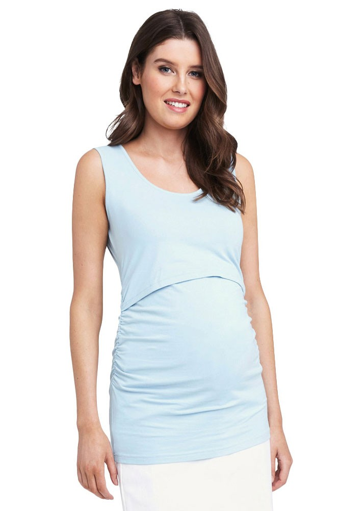 Ali Easy Breastfeeding Up/Down Maternity & Nursing Tank (Blue Chambray)