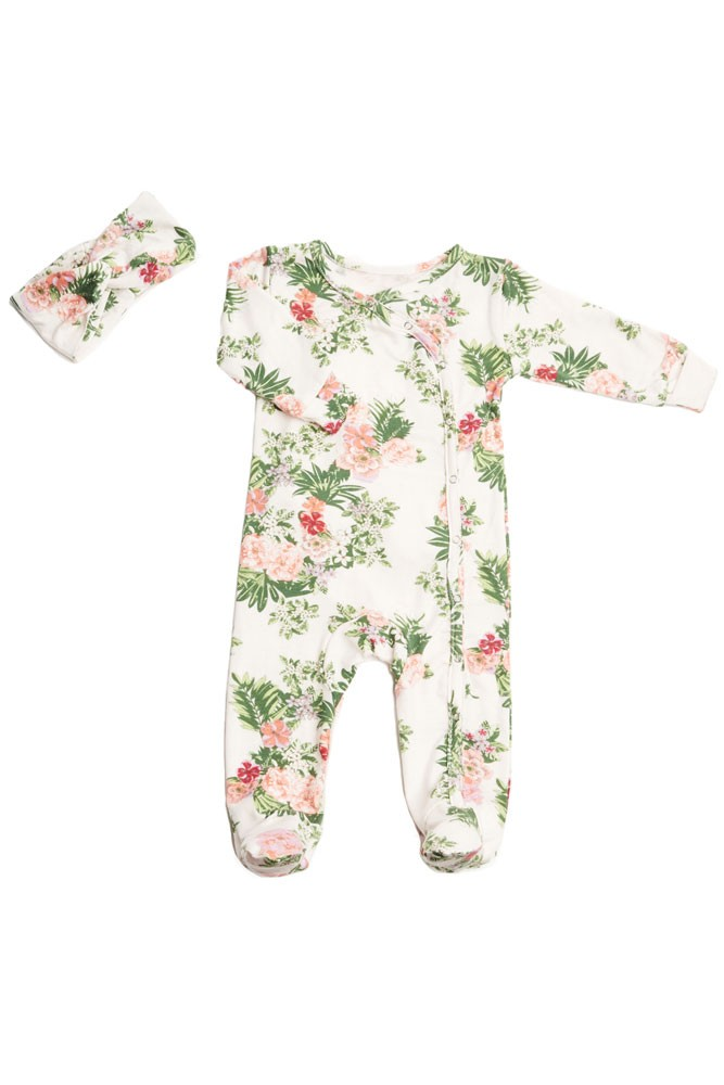 Baby Grey 2-piece Footie & Headband Set by Everly Grey (Beige Floral)