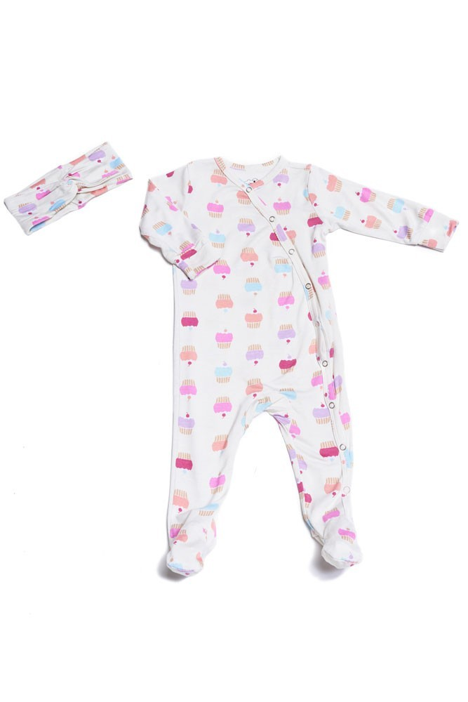 Baby Grey 2-piece Footie & Headband Set by Everly Grey (Cupcakes)