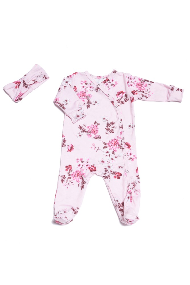 Baby Grey 2-piece Footie & Headband Set by Everly Grey (Blossom)