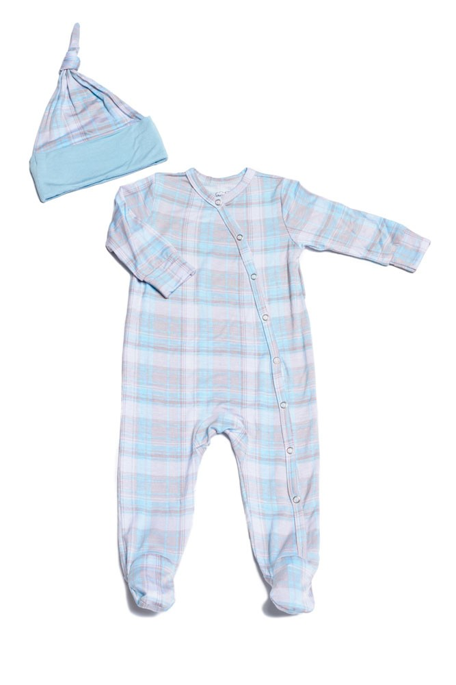 Everly Grey Baby Grey Baby Footie & Hat Set (Blue Plaid)