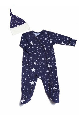 Everly Grey Baby Grey Baby Footie & Hat Set (Stars)