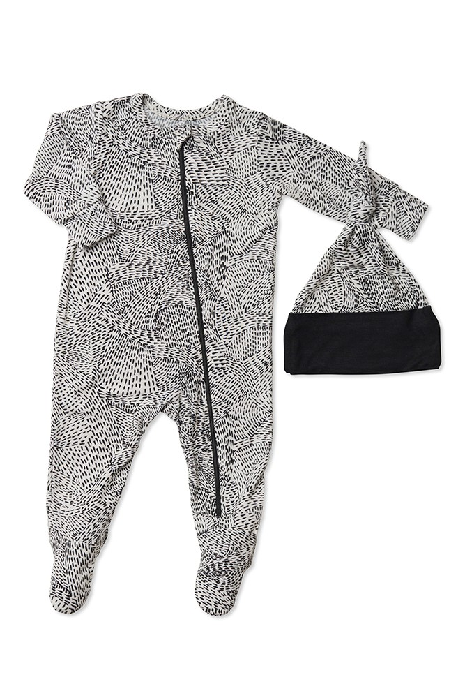 Everly Grey Baby Grey Baby Footie & Hat Set (Twilight)