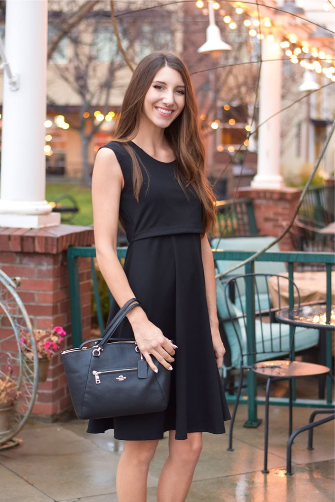 Kelly Ponte Nursing Dress (Black)