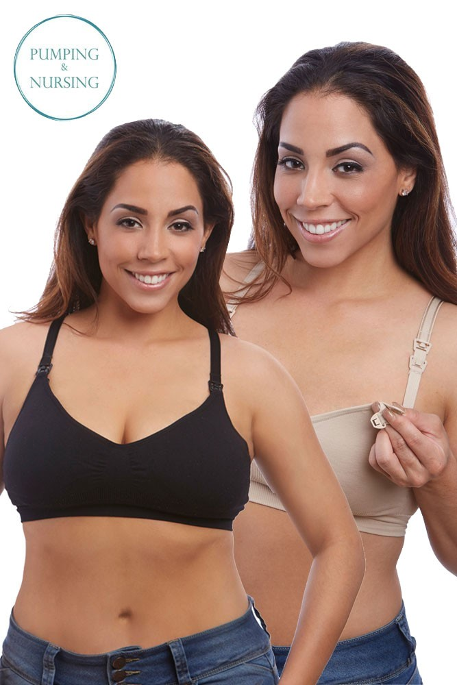 Nourish Nursing & Handsfree Pumping Bra by BeliBea - 2 Pack (Nude & Black)