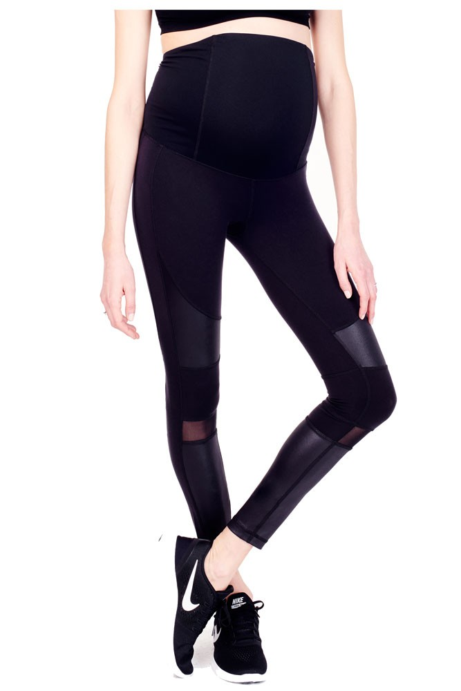 Ingrid & Isabel Active Moto Maternity Leggings (Jet Black)