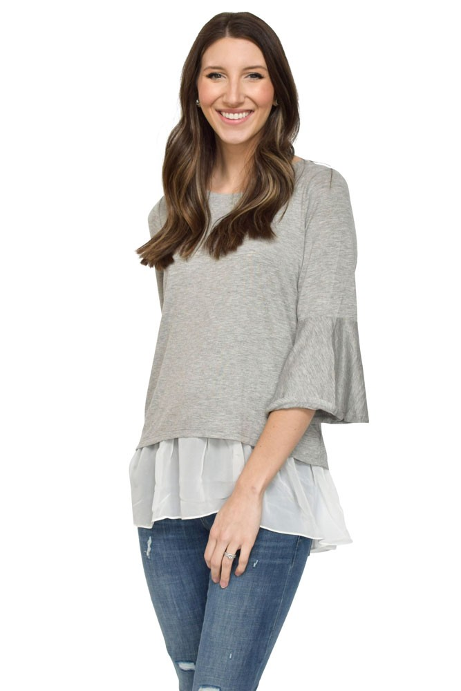 Zoey Flare Sleeve Chiffon Underlayer Nursing Top (Heather Grey & White)