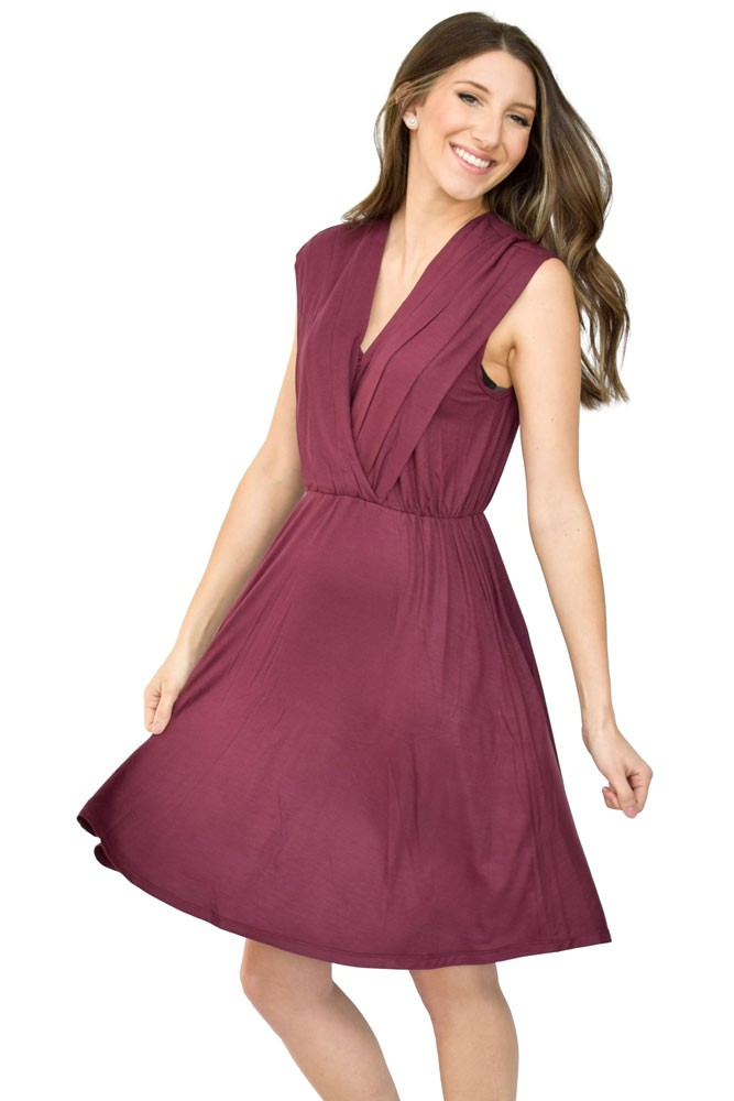 Sophie & Eve Lila Pleat Front Drop Waist Nursing Dress (Sangria)