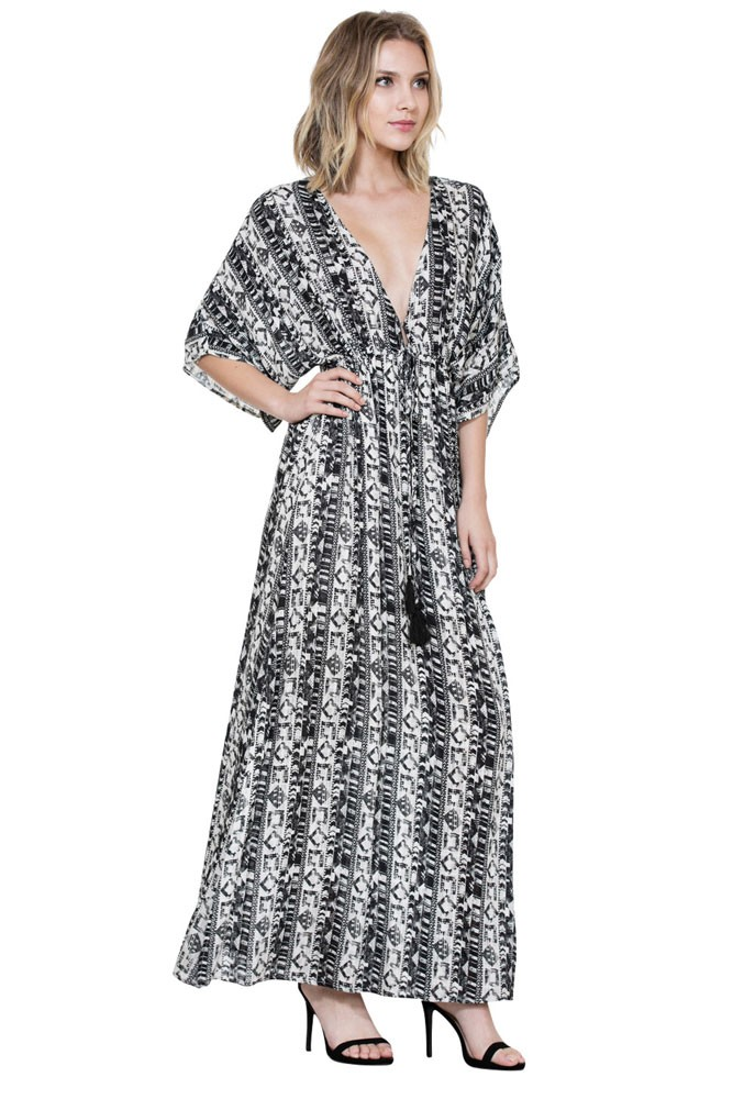 Aurora Long Maxi Pattern Nursing Friendly Dress (Black / Off White)