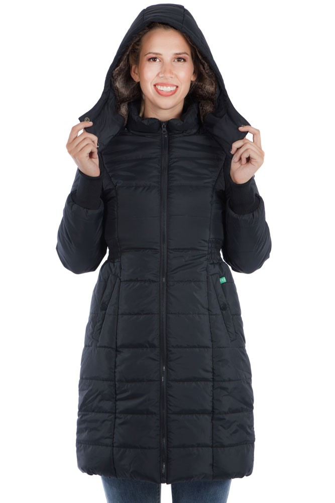 Madison 3-in-1 Maternity & Baby Wearing Puffer Coat w/Fur Lined Hood (Black)